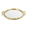Gold Round Bamboo Mirror Tray