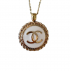 Gold and White Pendant on Chain Necklace