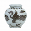 Rusty Brown and White Small Jar Phoenix Vase